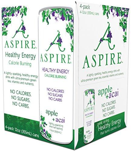Aspire Healthy Energy  Calorie Burning  Zero Calorie  Zero Sugar Drink 4 Pack Apple Acai