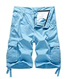 Best Mens Cargo Shorts - MADHERO Mens Cotton Twill Cargo Shorts Color Blue Review