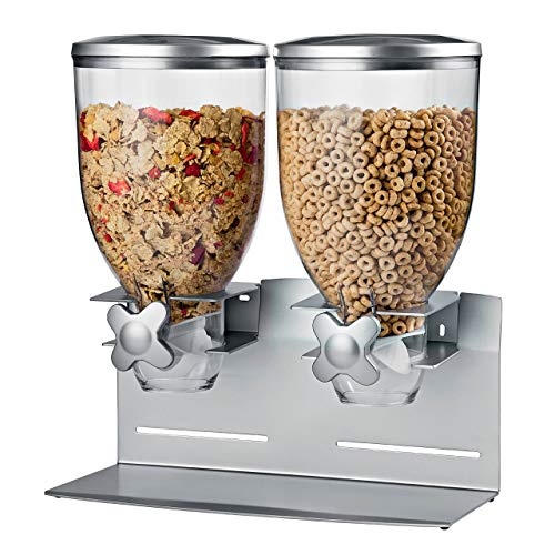 - Honey-Can-Do KCH-06157 Professional Edition Dry Food Double Dispenser with Metal Countertop/Wall Mount, Dual Control, 17.5-Ounce Capacity, Silver, 17.5-Ounce Capacity