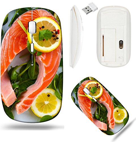 Liili Wireless Mouse White Base Travel 2.4G Wireless Mice with USB Receiver, Click with 1000 DPI for notebook, pc, laptop, computer, mac book IMAGE ID: 12562468 Red fish with lemon parsley and pepper