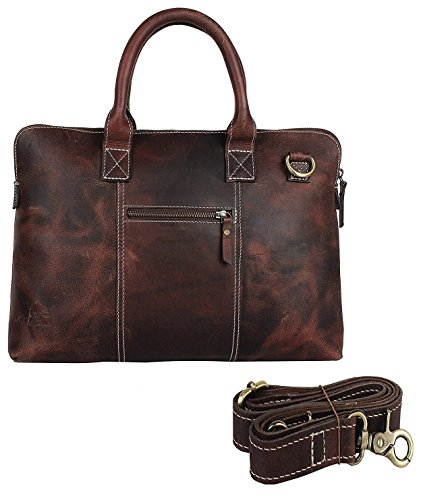14 Inch Leather Vintage Rustic Crossbody Messenger Satchel Bag Gift Men Women ~ Business Work Briefcase Carry Laptop Computer Book Handmade Rugged & Distressed ()