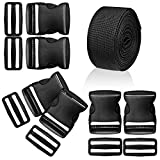 #9: WXJ13 1.5 Inches Plastic Quick Release Buckles Flat Shape Buckles and Tri-glide Slides with 5 Yards 1.5 Inches Wide Polypro Webbing for DIY Strap Making