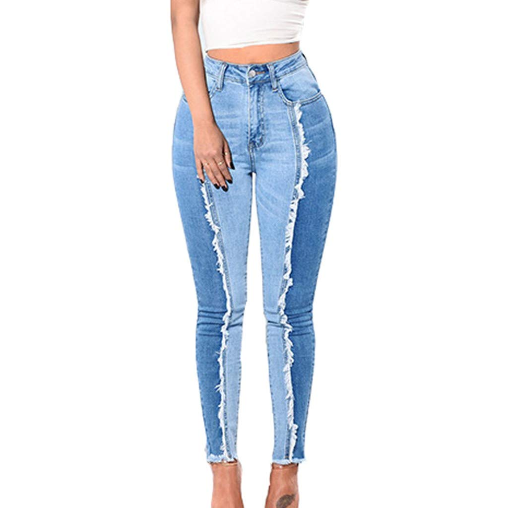 Armfre Bottom Womens High Waisted Jeans Long Stretch Skinny Denim Pants Color Block Butt Lift Slim Fit Pencil Leggings Plus Size Casual Trousers with Pockets
