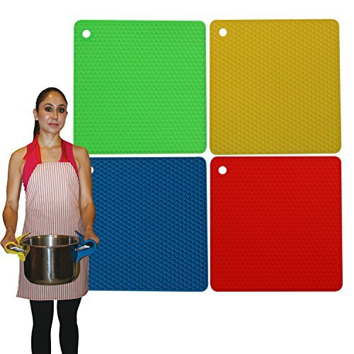 Silicone Pot Holders & Silicone Trivets Heat Resistant - Multi-purpose Set of 4 Pack Non Slip & Durable