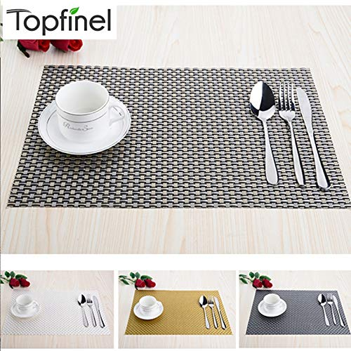 Weave Wallpaper Linen - | Mats & Pads | Top Finel Set of 8 PVC Decorative Weave Vinyl Placemats for Dining Table Linen Place Mat in Kitchen Cup Wine Mat Coaster Pad | by NAHASU