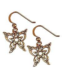 Copper Butterfly Pentacle Pentagram Earrings Wiccan Jewelry