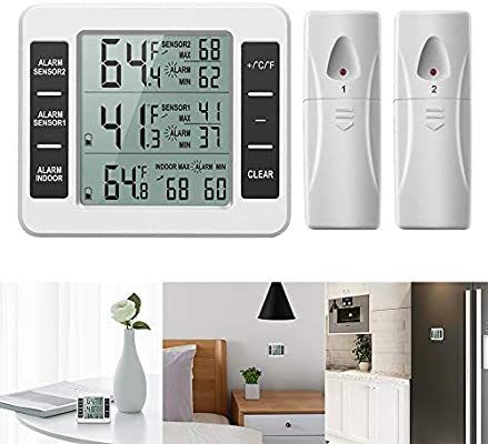 Powstro Termómetro inalámbrico para frigorífico o congelador con ...