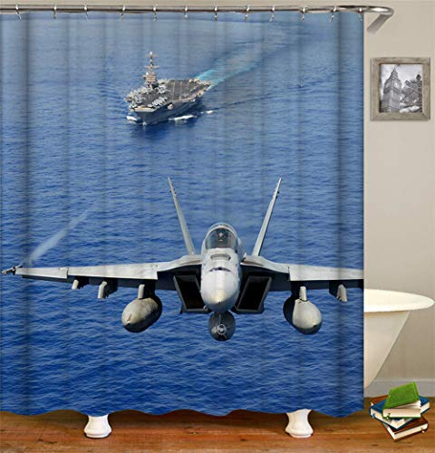 ZYJ A Fighter Jet Taking Off On an Aircraft Carrier. Shower Curtain. Quick Drying, Easy to Clean and Easy to Install. 70.86(180Cm) Inches X 70.86 Inches.