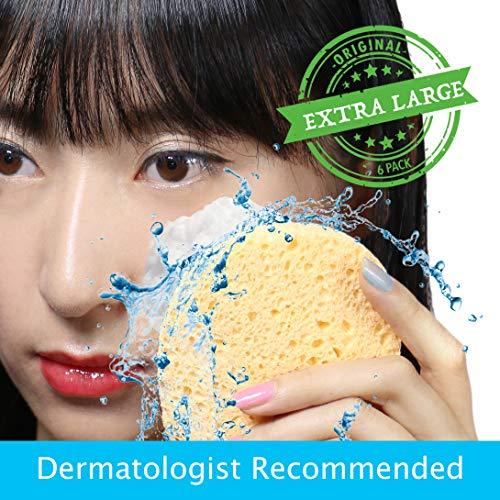 Facial Sponges Cleansing (Pretie 6 PCs of Cellulose Facial Cleansing Sponges - Extra Large, Ultra Soft, Instant-Dry, Bacteria-Free, Eco-Friendly.)
