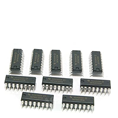 Major Brands 74HC595 ICs and Semiconductors, 8-Bit Shift Register with Output Latches and Eight 3-State Outputs, DIP 16, Cascadable (Pack of 10)