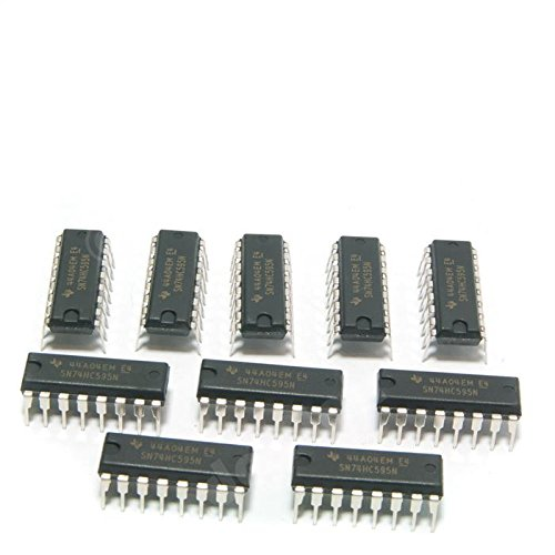 Major Brands 74HC595 ICs and Semiconductors, 8-Bit Shift Register with Output Latches and Eight 3-State Outputs, DIP 16, Cascadable (Pack of 10) (Direct Shift)