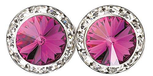 Swarovski Framed Earrings - Fuchsia Pink 15mm Framed Swarovski Elements Round Crystal Earrings - Nickel & Lead Free- Made in the USA