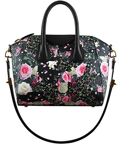 Bolsos de señora Xinmaoyuan Rose hombro Messenger Bolsos Mujer bolsos de cuero Rosa pequeño negro