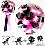CANDY PINK BLACK WEDDING 8'' PEW BOWS BRIDAL DECORATION