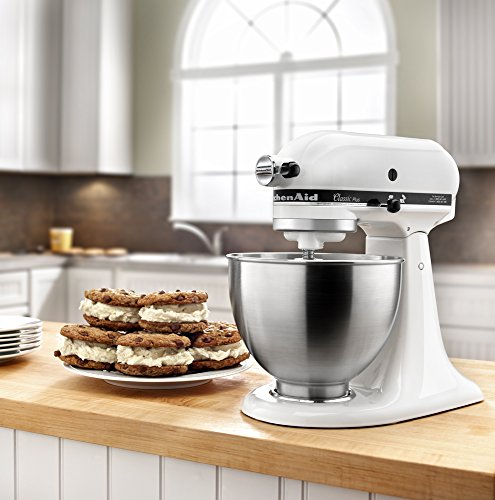 KitchenAid KSM75WH Classic Plus Series 4.5-Quart Tilt-Head Stand Mixer, White