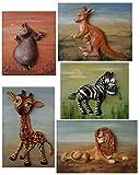 Lion, Zebra, Hippo, Kangaroo, Giraffe - Collection of paintings Africa & Handmade