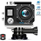 AIMTOM TL-9 Action Camera, 16MP 4K FHD Video Camera 2 Screen 30M Waterproof 170 Degree A+ Super Wide Vision, Waterproof WIFI Remote Double Screen Portable Sports Cam Underwater Case Helmet Mount