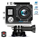 AIMTOM TL-9 Action Camera, 16MP 4K FHD Video Camera 2'' Screen 30M Waterproof 170 Degree A+ Super Wide Vision, Waterproof WIFI Remote Double Screen Portable Sports Cam Underwater Case Helmet Mount