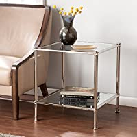 SEI Paschall Glam Square End Table w/ Mirrored Shelf & Glass Tabletop