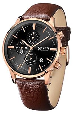Voeons Men's Chronograph Calendar Brown Leather Band Rose Gold Case Waterproof Quartz Wristwatch Black