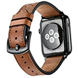 Mifa Leather Band for Apple Watch 42mm iwatch series 1 2 3 Nike Sports Replacement strap Bands dressy classic buckle vintage case with Black Stainless Steel Adapters (42mm, Brown)