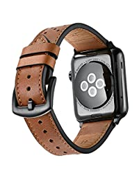Mifa Premium Leather Band for Apple Watch 42mm Bands iwatch Series 1 2 3 Replacement Strap Dressy Classic Buckle Vintage case Band with Black Stainless Steel Adapters (42mm, Brown)