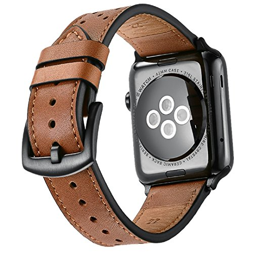 Mifa Leather Band for Apple Watch 42mm iwatch series 1 2 3 Nike Sports Replacement strap Bands dressy classic buckle vintage case with Black Stainless Steel Adapters (42mm, Brown) by MIFA