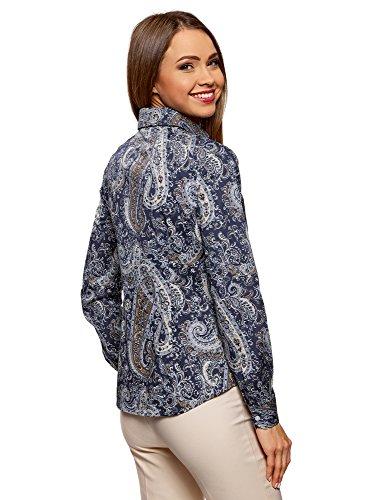 7933e Chemisier Femme Cachemire oodji en Motif Collection Coton Bleu ZPOqpO