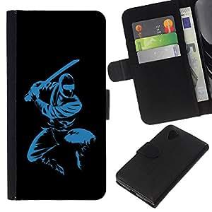 KLONGSHOP // Tirón de la caja Cartera de cuero con ranuras para tarjetas - Azul Ninja - LG Nexus 5 D820 D821 //