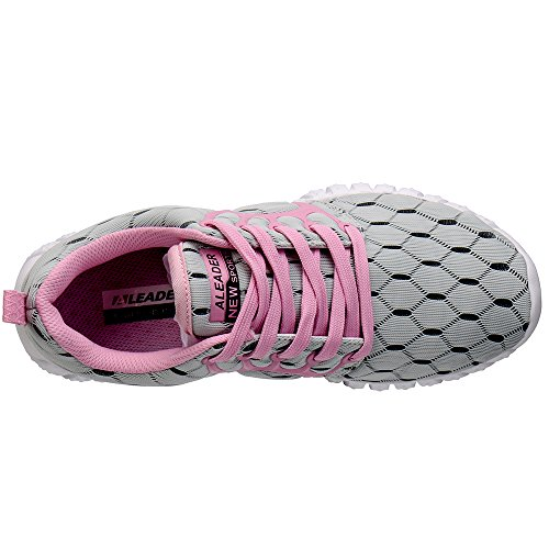 Mesh Pink Women's ALEADER Sport Shoes Lgray Lightweight Running qzqgEwC