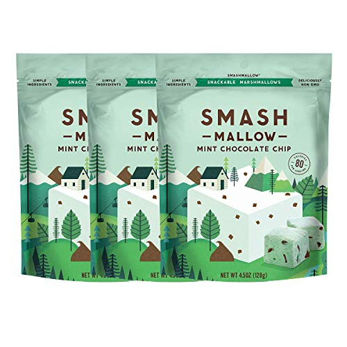 Mint Chocolate Chip by SMASHMALLOW | Snackable Marshmallows | Non-GMO | Organic Cane Sugar | 80 Calorieper Serving | Pack of 3 (4.5 oz)
