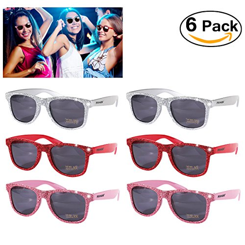 PIXNOR New Years Eve Party Glitter Sunglasses for New Years Eve Party Supplies Favors (6 - Wearing Stars Sunglasses