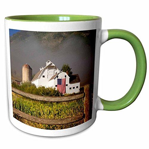 3dRose Danita Delimont - Barns - McPolin-Osguthorpe Barn in Park City, Utah, USA - US45 BJN0009 - Brian Jannsen - 11oz Two-Tone Green Mug - In City Outlets Utah Park