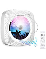 Gueray CD Player Portable Wall Mountable Bluetooth with Dust Cover Built-in HiFi Speakers with LCD Screen Display Home Audio FM Radio USB MP3 Music Player 3.5mm AUX Jack Remote Control