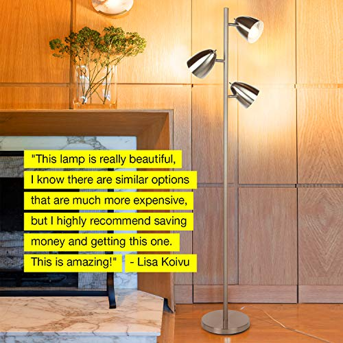 Brightech Jacob - LED Reading and Floor Lamp for Living Rooms & Bedrooms - Classy, Mid Century Modern Adjustable 3 Light Tree - Standing Tall Pole Lamp with 3 LED Bulbs - Satin Nickel by Brightech (Image #4)