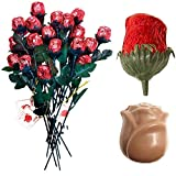 """Madelaine Chocolate Sweetheart Edible Roses - Solid Premium 9 1/2"""" Milk Chocolate Rose Wrapped in Italian Foil (Red, 12 Pack)"""
