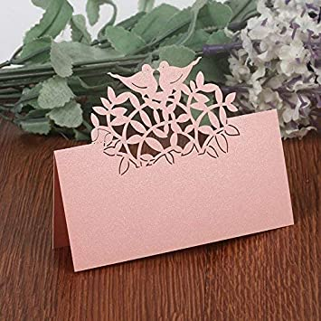50PCS Wedding Guest Name Place Cards Party Table Name Place Cards Paper Table Numbers Place Card Escort Name Card Laser Cut Design for Wedding Party Decoration Favor Silver-Birds