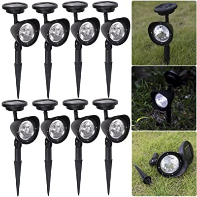 8 Pack Outdoor Garden 3-LED Solar Spot Flood Landscape Path Lights Lighting: new free shipping