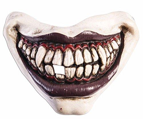Evil Clown Mouth Piece Mask Vinyl Latex White Joker Vampire Fangs Scary]()