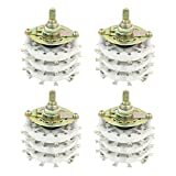 uxcell 4pcs 6P5T 6 Pole 5 Throw Three Deck Band Channel Rotary Switch KCT65
