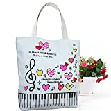 Sound Harbor Music Symbols Print Canvas Tote Music Element Handbag Shoulder Shopping Bags, Music Book Bag and Gift of music lovers (Pink Love-Bag)