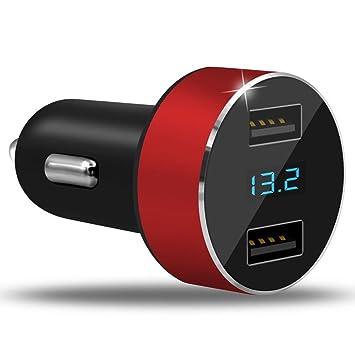 UGI Adaptador del Cargador del Coche de los Puertos duales 3.1A Cargador del Cigarrillo del USB Encendedor LED 12V/24V Voltímetro de Digitaces LED ...