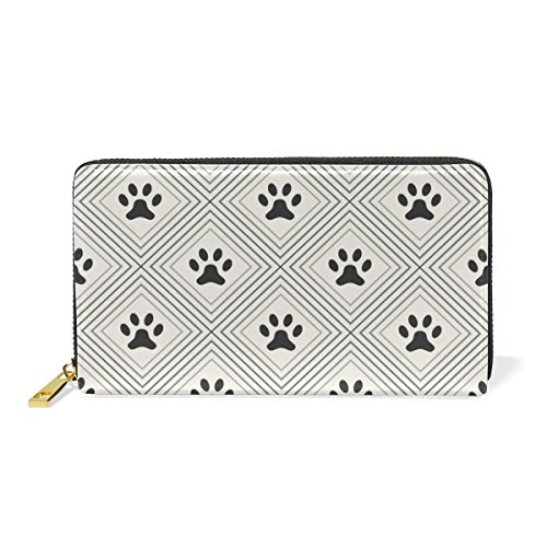 3 Around Or TIZORAX Handbags Pattern Paws Cat Zip Purses Dog Organizer Wallet Clutch Womens And Footprints aBBZwFxqWA