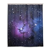 """SUABO Polyester Waterproof Fabric Shower Curtain Decorative Bathroom Curtain with 12 Hooks 60""""(w) x 72""""(h) Inch, Blue And Purple Nebula Pattern"""