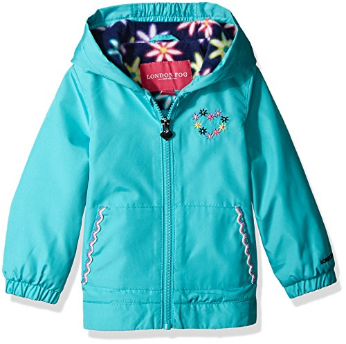 (London Fog Baby Girls Floral Printed Fleece Lined Jacket, Chatterbox Turquoise, 12M)