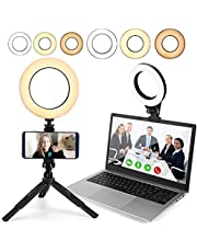 Video Conference Lighting,2-Pack, Ring Light with Tripod Stand & Clamp for Laptop Computer/Webcam/Zoom Meetings/Video Calls/Recording/Makeup/Video Conferencing/Live Broadcast etc