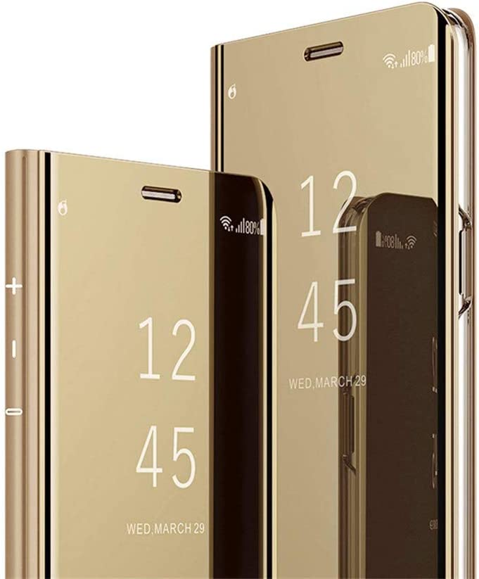 Galaxy A12 Case, Ankoe Luxury Translucent View Makeup Mirror Flip Electroplate Plating Stand Shockproof 360 Full Body Protective Hard PC Cover for Samsung Galaxy A12 (Gold)