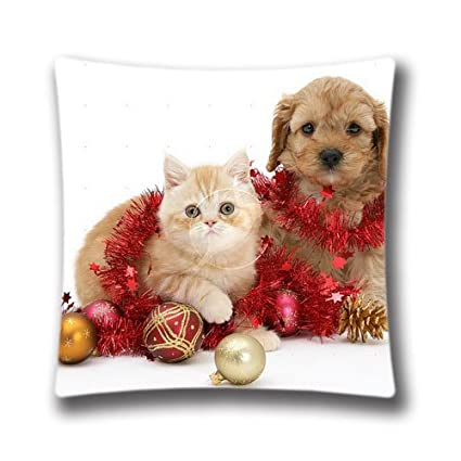 Merry Christmas Puppies.Amazon Com Cute Christmas Kittens And Puppies Pillow Case