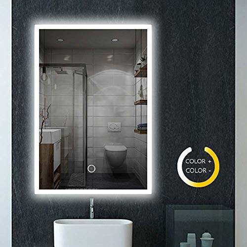 Peralng 32 x 24 Inch Led Lighted Bathroom Mirror - Wall Mounted Illuminated Mirror Touch Button Adjustable White/Warm White/Warm Lights ()