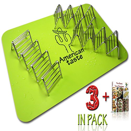 3 Taco Holders and Silicone Mat by AT - Best Stainless Steel Taco Rack Tray - Grill, Oven and Dishwasher Safe Taco Shell Stand - Silicone Nonstick Baking Mat - Exclusive Taco Recipes e-Book (4 Baking Shells)